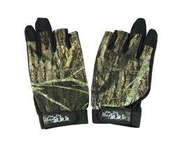 Pack 3 Cut Finger Anti Slip Green Camo camouflage Vissen Handschoenen Top Kwaliteit Buitensporten antislip Vissen handschoenen