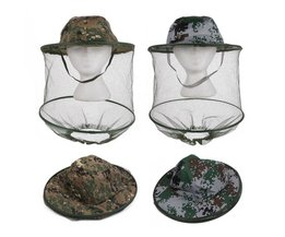 Camouflage Anti Mosquito Vissen Hoed Met Net Mesh Hoofd Cover Visser Hoed Bijenteelt Camping Masker Gezicht Beschermen Caps