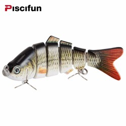 MyXL Piscifun Vissen Lokken 10 cm 20g 3D Ogen 6-Segment Levensechte Vissen Harde Lokken Crankbait Met 2 Haak Vissen Baits Pesca Cebo
