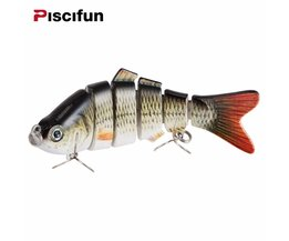 Piscifun Vissen Lokken 10 cm 20g 3D Ogen 6-Segment Levensechte Vissen Harde Lokken Crankbait Met 2 Haak Vissen Baits Pesca Cebo