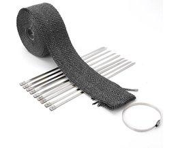 5 M/10 M Lint Bandages Bocht Thermische Ontmantelen Uitlaatspruitstukken + 10 Zwart Moto Bindingen Elektrische Fiets Accessoires