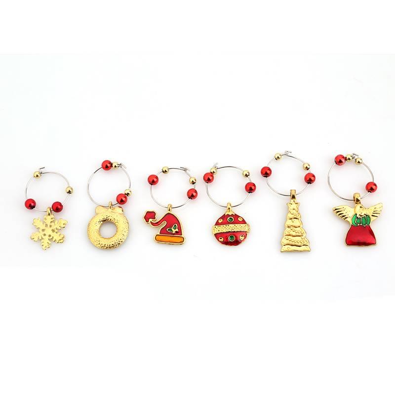 1 Set Kerst Wijnglas Decoratie Charms Party Nieuwjaar Cup ring Tafeldecoraties Xmas Hangers Metalen