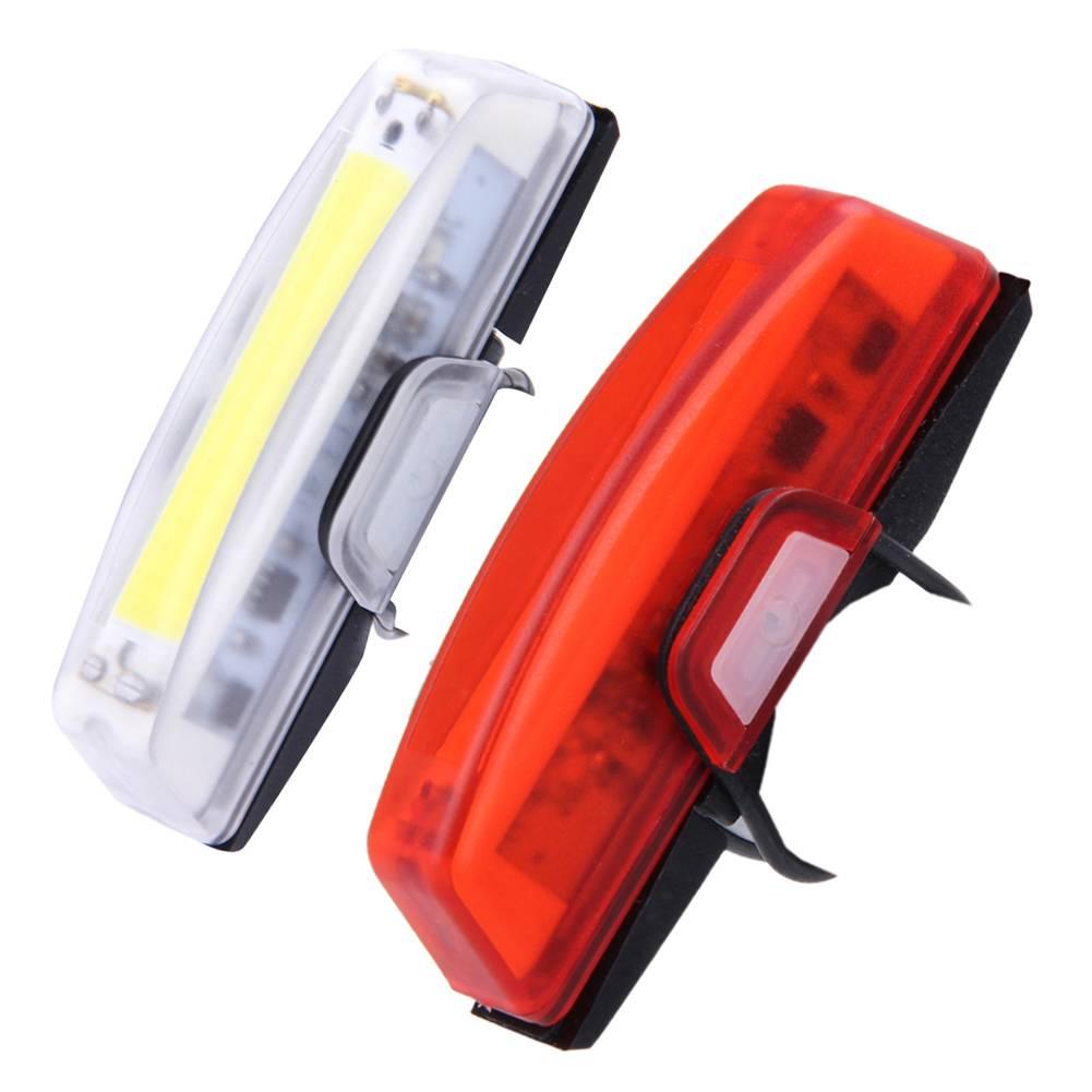 100 lumen USB Oplaadbare Fiets Voor Achter LED Achterlichten Waterdicht 6 Modi COB Waterbestendig Fi