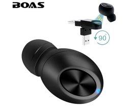 BOAS Kleine Draadloze Bluetooth Oortelefoon USB Magneet Onzichtbare verborgen hoofdtelefoon in oor oortje Handsfree met Mic voor smartphone