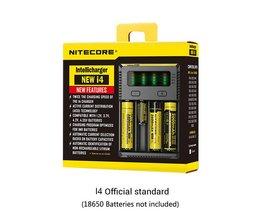 Originele Nitecore I4 Acculader 18650 14500 16340 26650 LCD Ion Lader 12 V Input Charing voor Een AA AAA batterijen