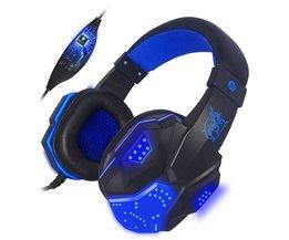 Bass Stereo Gaming Headset Cool gloeiende hoofdtelefoon Voor Computer Spy PC Gamer oortje Lichtgevende Grote Oortelefoon Met Micro LED Licht