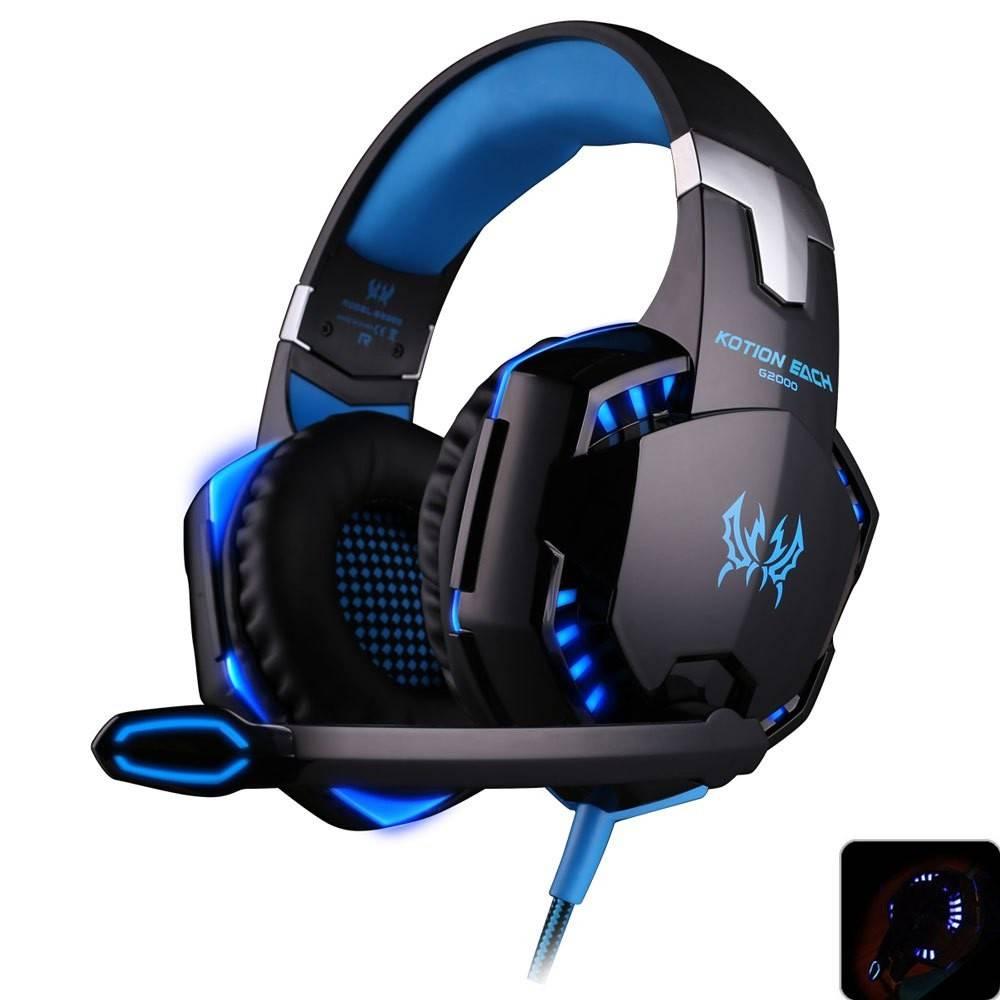 Originele KOTION ELKE G2000 Gaming Headset Diepe Bas Computer Game Hoofdtelefoon met microfoon LED L