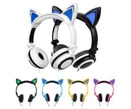 Kat ear hoofdtelefoon opvouwbare knipperende glowing grote oortelefoon gaming headset met led licht voor iphone laptop computer mobiele telefoon