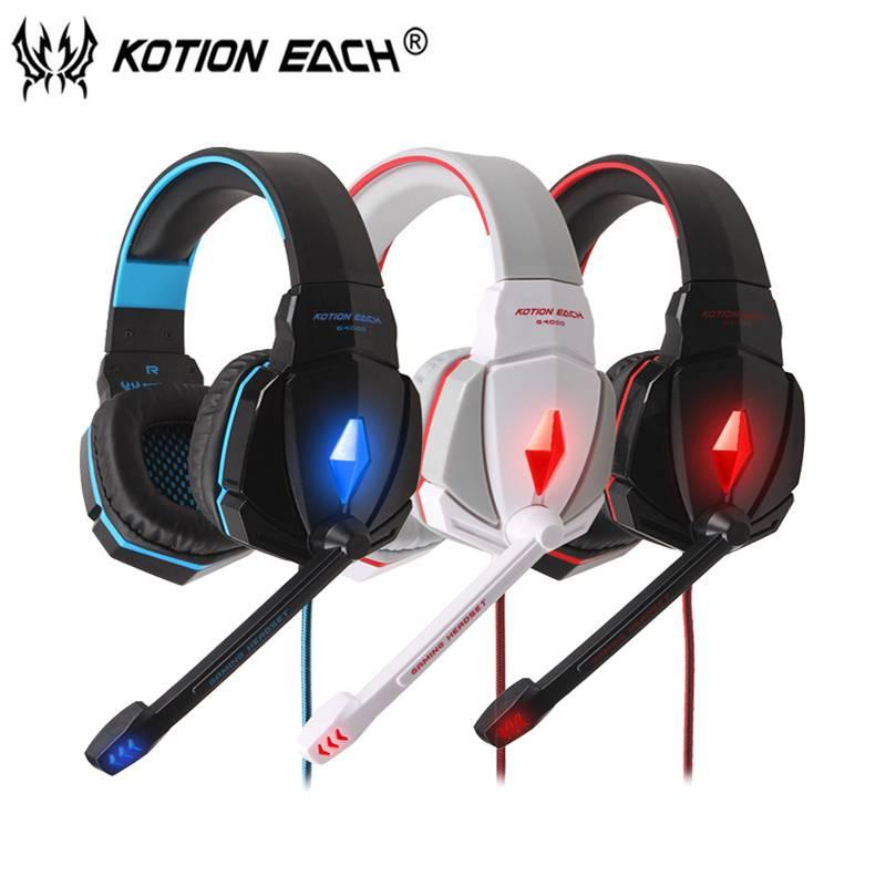 KOTION ELKE G4000 Gaming hoofdtelefoon voor computer Wired Gaming headset gamer met microfoon led ru