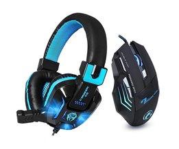 Hifi Stereo Bass Gaming Hoofdtelefoon Ruisonderdrukkende met Mic LED Light Game Headset + 7 Knoppen 5500 DPI Pro Gaming muis