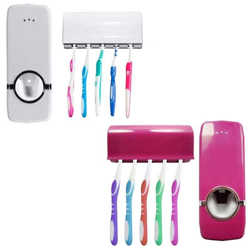MyXL Badkamer Accessoires Wandmontage Automatische Tandpasta Dispenser met 5 Tandenborstelhouder Home Decor salle de bain