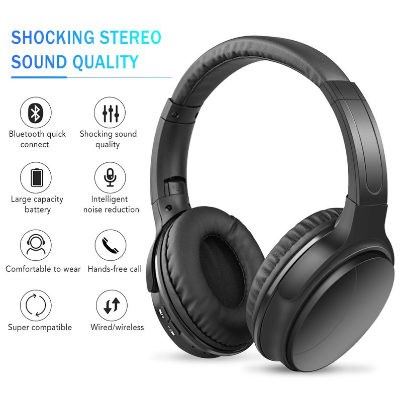 MyXL Noise Cancelling Headphones Wireless Bluetooth Over the Ear Headphones with Mic Active Noise Cancellation HiFi Stereo Headset