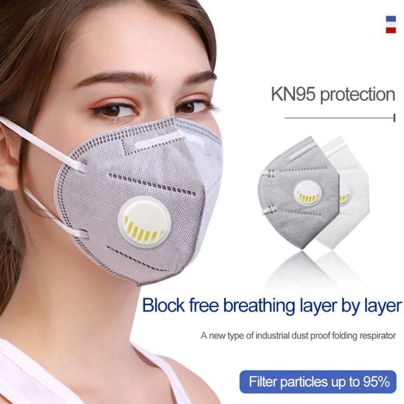MyXL 5Pcs Mondkapje KN95 Masker Wit Herbruikbare Maskers Valved Stofmasker Veiligheid Zachte Beschermende N95 Masker Draagbare FFP2 Gezichtsmasker Voor mannen Vrouwen