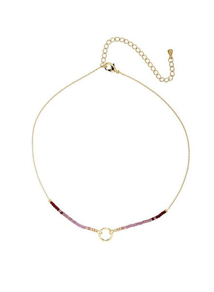 Gold/purple coloured necklace