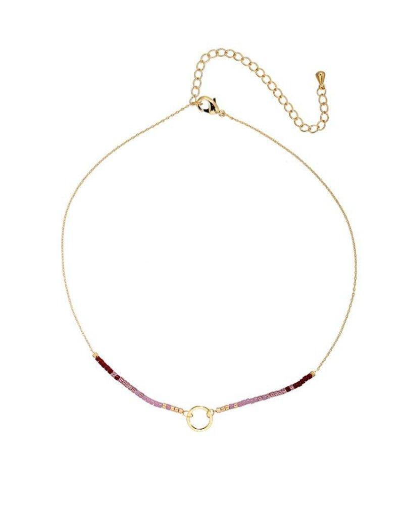 Gold/purple coloured necklace
