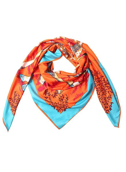 Giraffe printed scarf orange