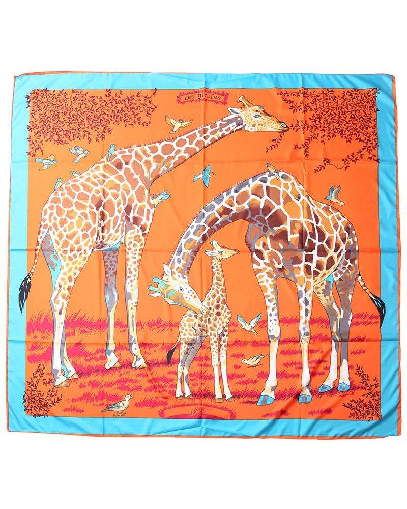 Giraffe printed scarf orange