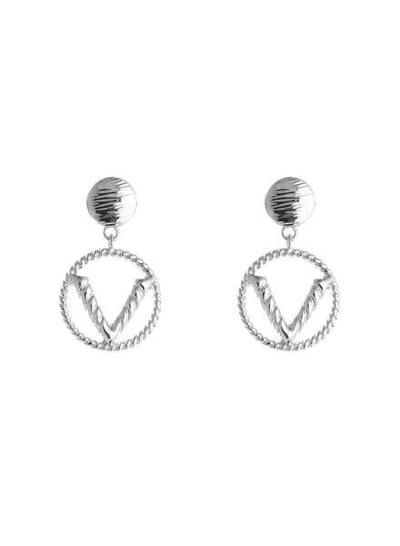Earring V zilver