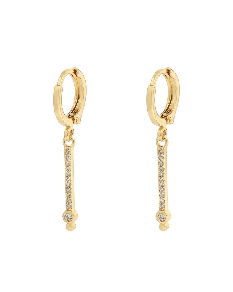 Kisamova Earrings Bar Rhinestones Silver