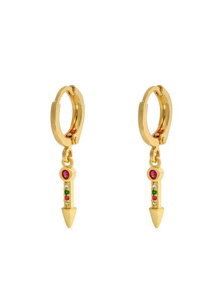 Kisamova Earrings Zirconia Arrow Colour