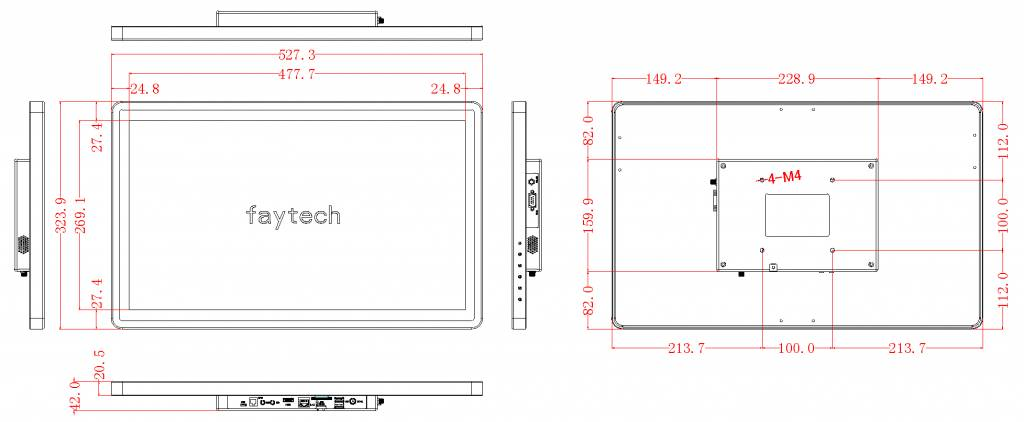 21,5 inch Embedded touch computer