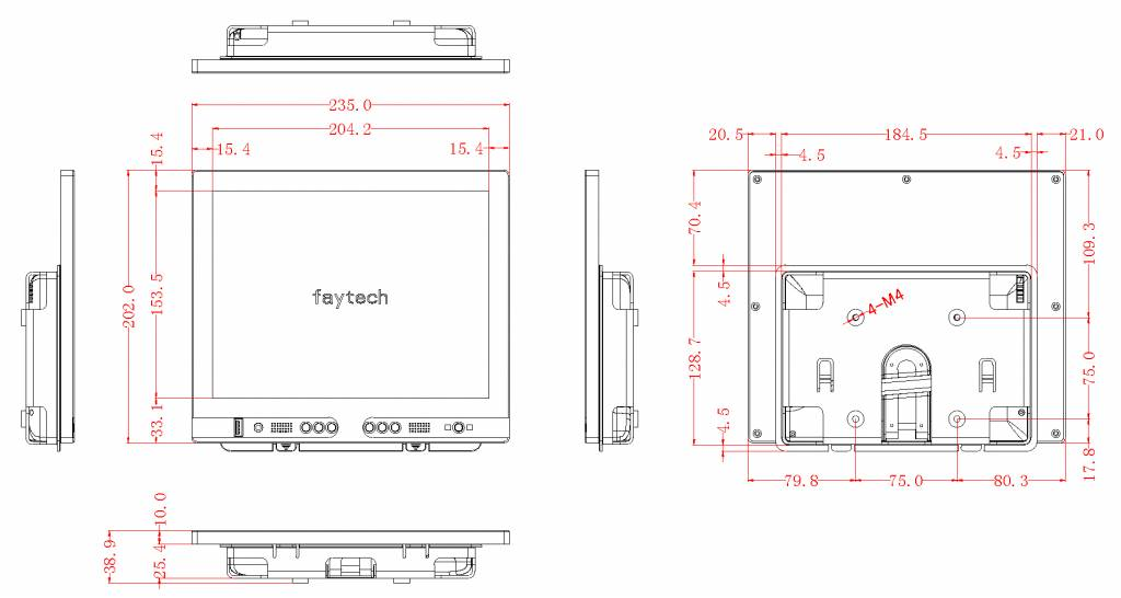 10 inch resistive touch monitor FT10TMB | faytech Nederland