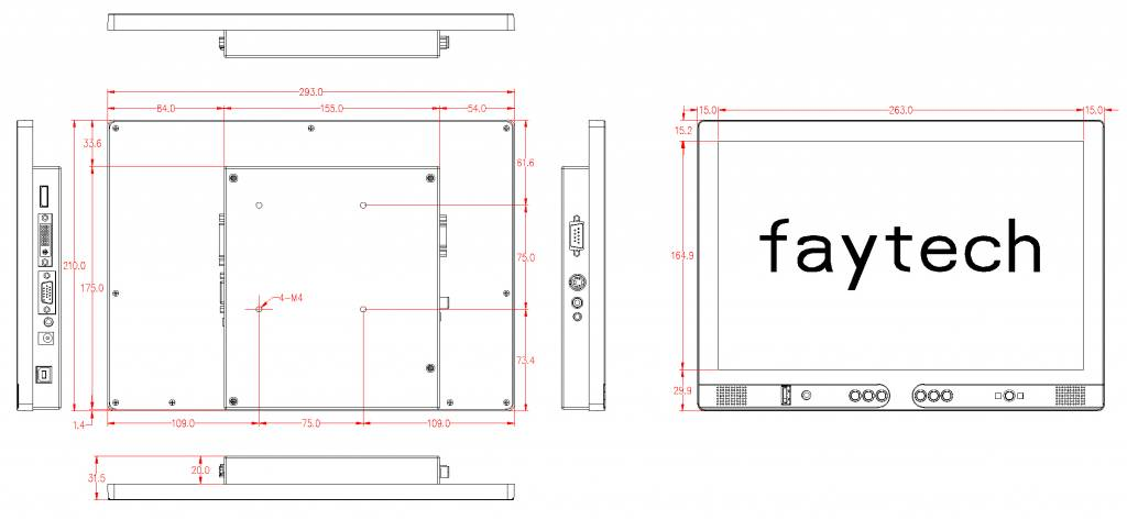 12,1 inch resistive touch monitor FT121TMB | faytech Nederland
