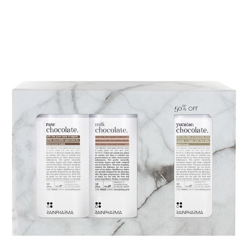 Rainpharma Trio Shakes Raw Chocolate, Milk Chocolate, Yucatan Chocolate