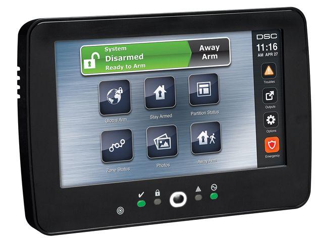 DSC Bedraad Touchscreen bedienpaneel met Prox lezer, zwart