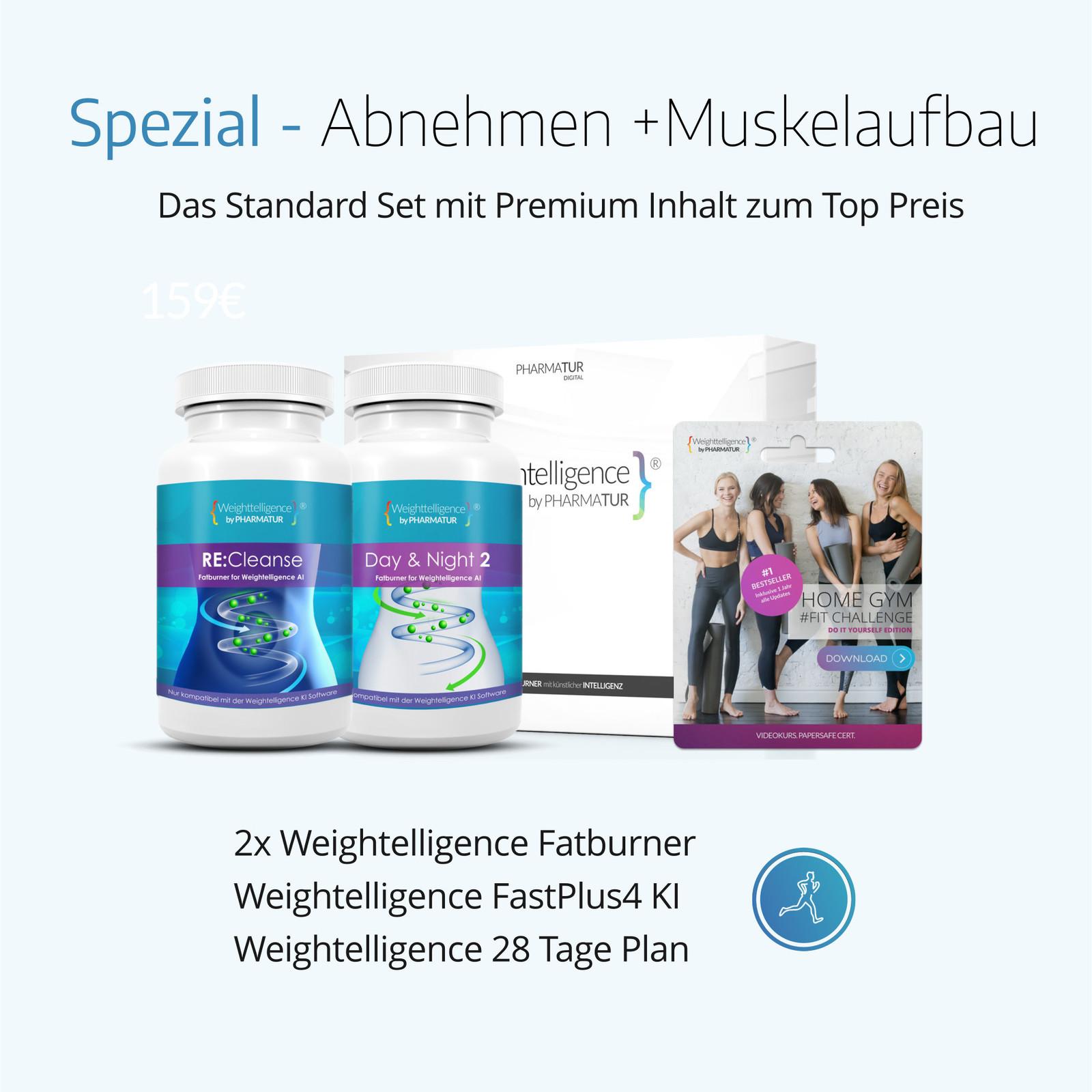Weightelligence Weightelligence® Spezial - Abnehmen +Muskelaufbau (Inklusive 2x WT Fatburner, Bodyfit Programm & Fatburn KI)