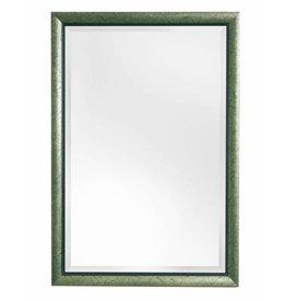 Atessa - spiegel met moderne zilver met groene kader