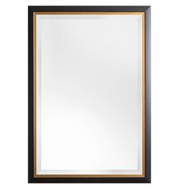 Firenze - moderne zwarte spiegel met gouden binnenrand
