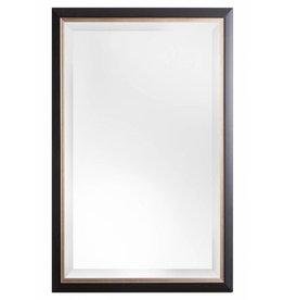 Firenze - moderne zwarte spiegel met zilveren binnenrand