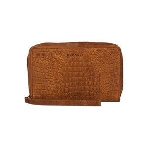 BURKELY Croco Chloe Travel Wallet Cognac