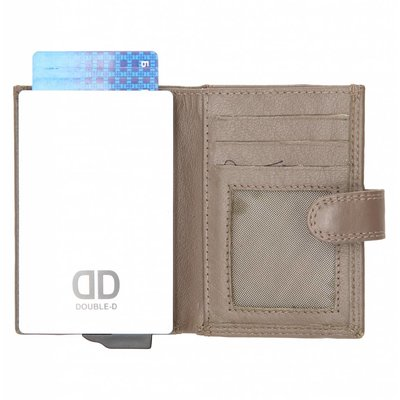 Double-D Creditcard Portemonnee leer taupe