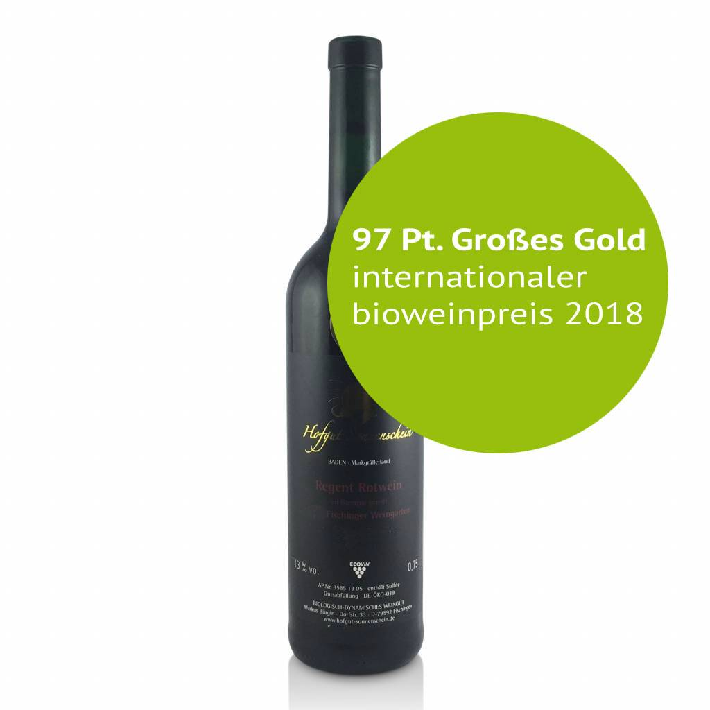Hofgut Sonnenschein Regent Rotwein Auslese  Barrique 2015 trocken  97 Pt. Großes Gold internationaler bioweinpreis - Hofgut Sonnenschein