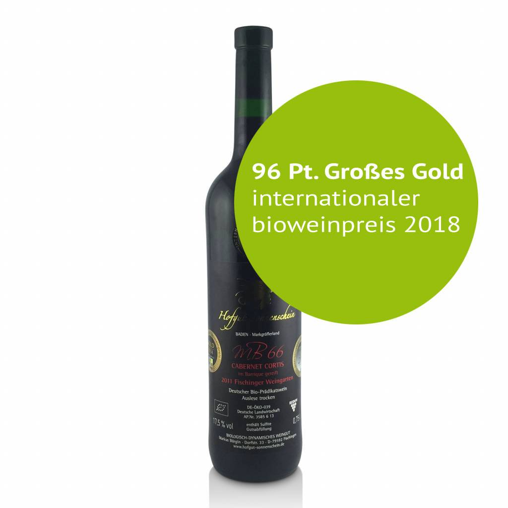 Hofgut Sonnenschein MB66 Cabernet Cortis 2015 , Barrique  Auslese trocken, 96 Pt. GROßES GOLD internationaler bioweinpreis  - Hofgut Sonnenschein