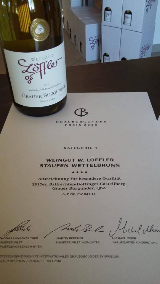 Weingut Löffler Grauer Burgunder Edition trocken 2017 - Vier-Sterne GRAUBURGUNDER Preis 2018 - Badische Goldmedaille - Weingut Löffler