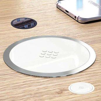 Draadloze telefoon opladerQi lader RVS - Wit glanzend