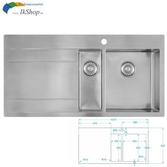 Caressi Spoelbak keuken RVS CA1534ABR