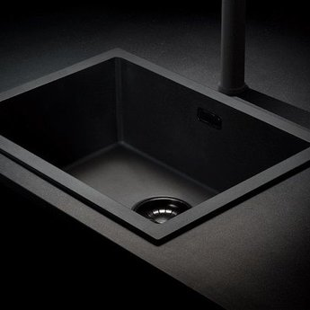 Caressi Zwarte spoelbak keuken CAGRPP40BK TU | Opbouw / onderbouw