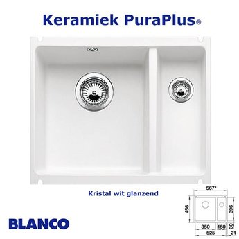 Spoelbak Blanco Subline 340/160 U Keramiek PuraPlus® onderbouw