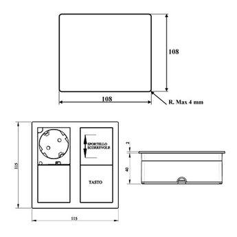 Stopcontact kookeiland Mat Zwart met USB aansluiting & Randaarding