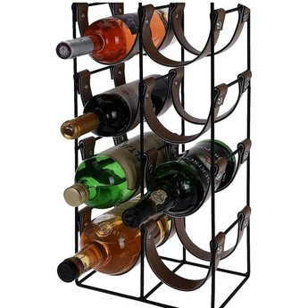 Metalen wijnrek met leatherlook inlays