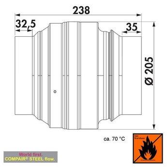 Afzuigkap brandwerende klep 150  Compair Steel flow