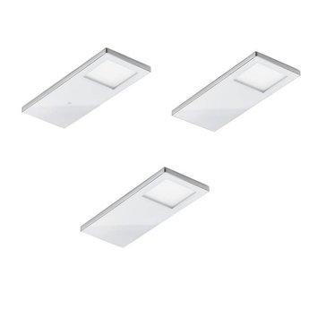 Keukenverlichting onderbouw 3x Vetro met zwart of witte glasafdekking