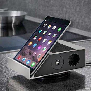 Tablet houder tafel 2xUSB 3 stopcontacten