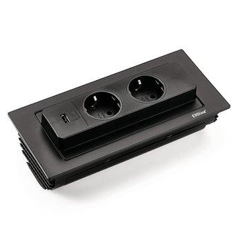Evoline Evoline BackFlip Zwart met 2 Stopcontacten en USB lader