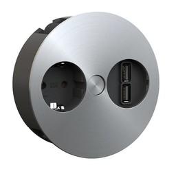 Keuken stopcontactTwist USB RVS Randaarding