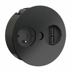 Keuken stopcontactTwist USB Zwart Penaarding